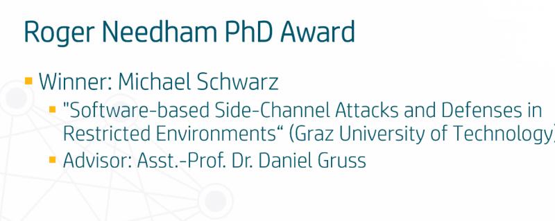 Michael Schwarz Wins the EuroSys Roger Needham PhD Award