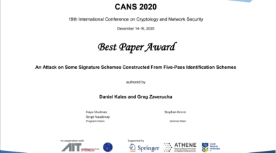 Best Paper Award at CANS 2020